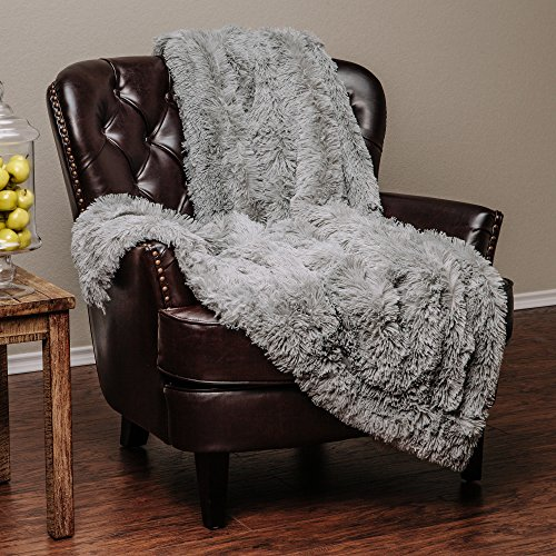 Chanasya Super Soft Long Shaggy Chic Fuzzy Fur Faux Fur Warm Elegant Cozy With Fluffy Sherpa Tan Blue Gray Microfiber Throw Blanket (50