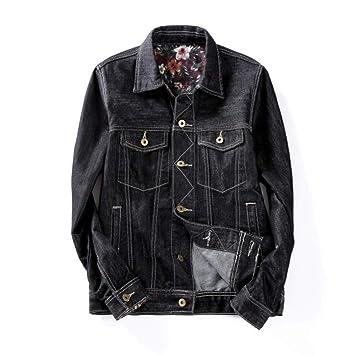 JIAKENVDE 6XL Talla Grande Chaqueta Jeans Negro Hombres Moda Clásica Talla  Grande Ocio Chaquetas de Mezclilla e0e92802a70de