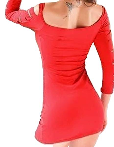 purchase cheap e6b75 a2564 PICCOLI MONELLI Vestito Sexy Rosso in licra elasticcizzato con Manica Tre  Quarti