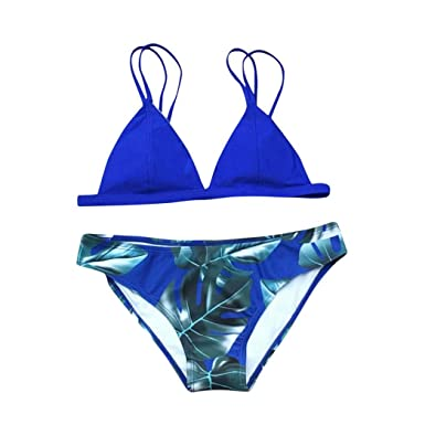fad03d56a301a Pingtr Women Bikini Set Sexy Swimsuit Tropical Leaves Print Padded Bathing  Suit Low Waist Beach Swimwear