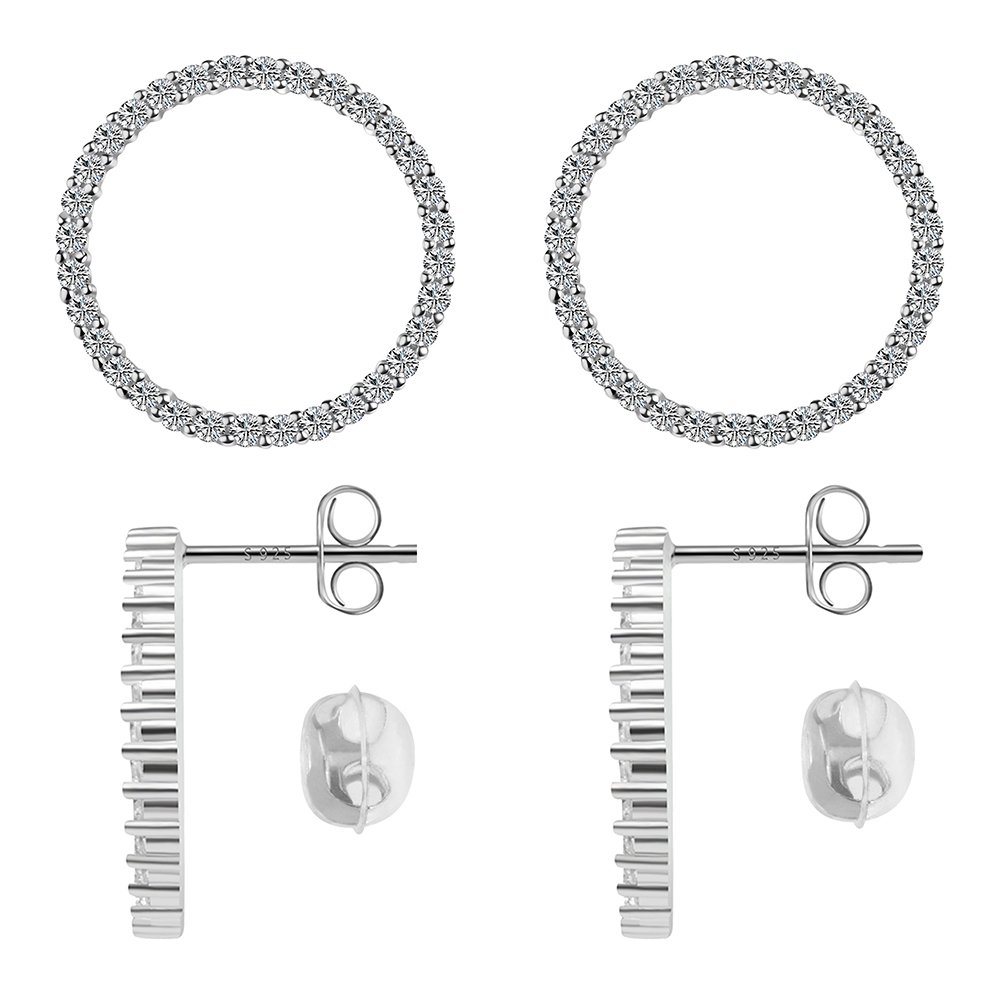Sterling Silver Earrings Stud with Cubic Zirconia for Women & Girls Ears Platinum-Plated (Size:18mm)
