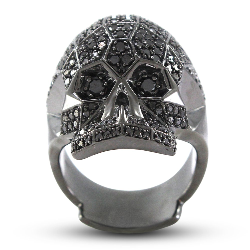 TVS-JEWELS Rock Shooter Skull Ring for Mens White Platinum Plated 925 Silver Round Black Cubic Zirconia