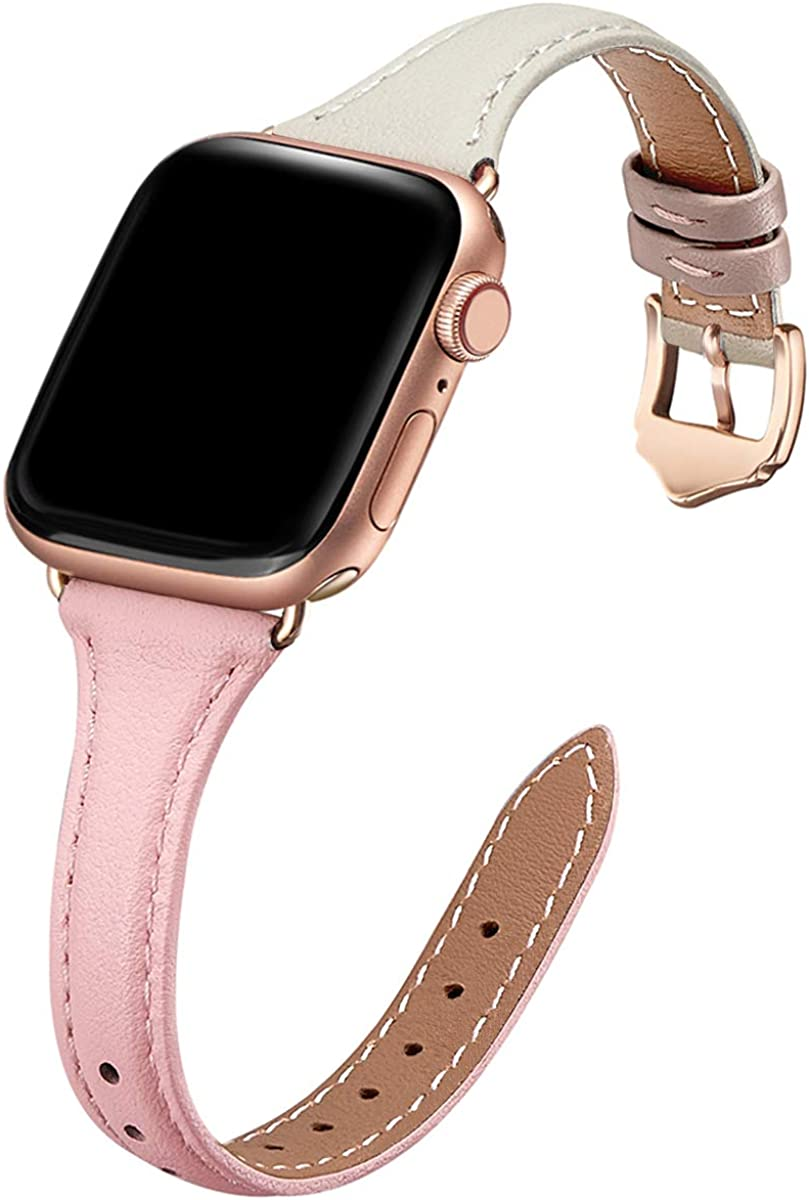 WFEAGL Genuine Leather Watch Bands Compatible with iWatch 38mm 40mm 42mm 44mm, Slim & Soft Replacement Wristband for Apple Watch Series 5/4/3/2/1 (Pink IvoryWhite Band+RoseGold Adapter, 38mm 40mm)