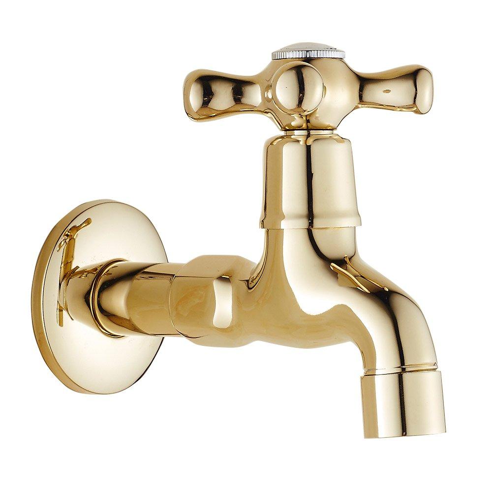 Faucet-European gold copper single cold wall balcony washing machine mop pool long