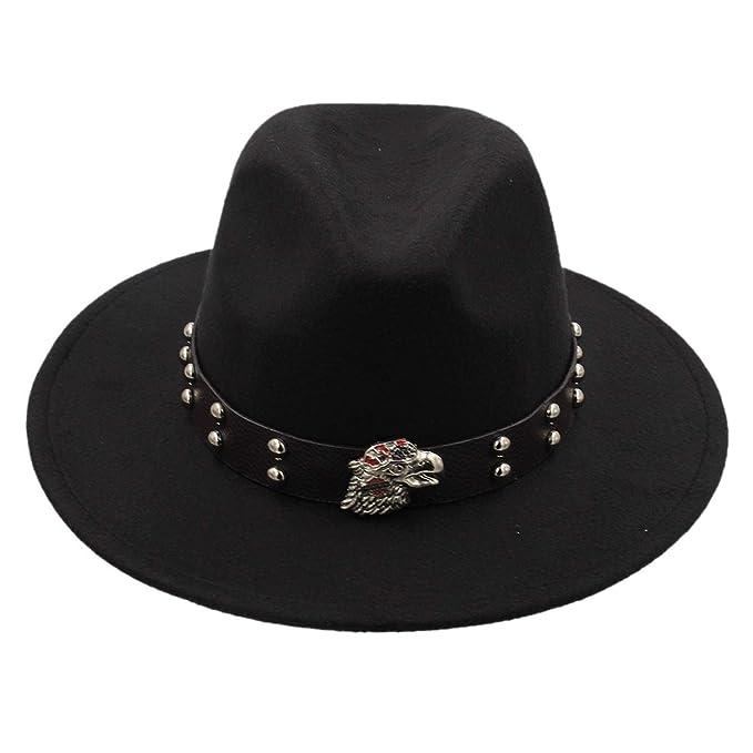 DOSOMI Men Women Trilby Fedora Wide Brim Wool Felt Jazz Panama Hat Western Cowboy Hat with Leather Decorated