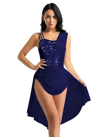 FEESHOW Lyrical Women Girls Dance Costume Irregular Sequins Ballet  Gymnastics Leotard Dress Navy Blue X- 4024258d19da