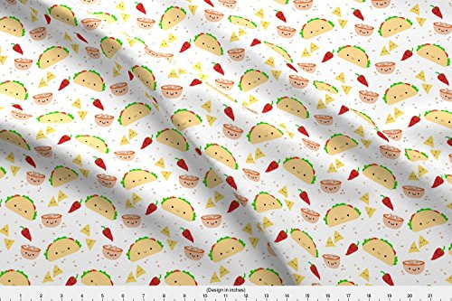 ric - Taco Mexican Salsa Fiesta Cinco De Mayo Chili Pepper Kawaii Cute - by Clayvision Printed on Basic Cotton Ultra Fabric by The Yard ()
