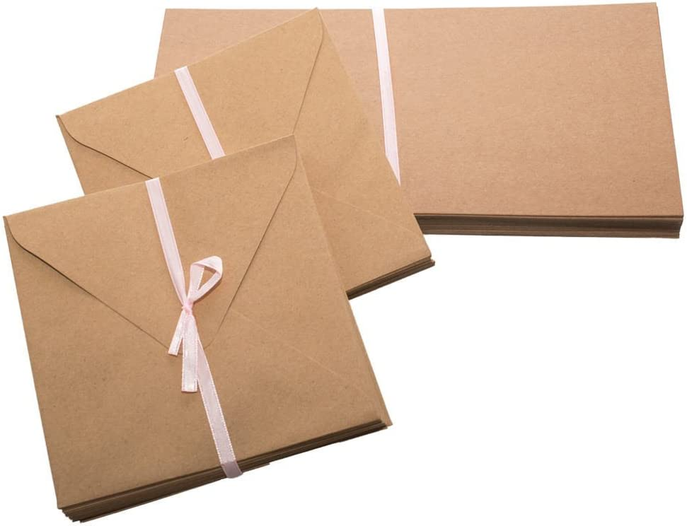 Papermania Recycled Kraft Square Blank Card Pack of 50