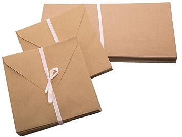 Papermania Lot De 50 Cartes Vierges Carrees En Papier Kraft Recycle Marron 135 Cm