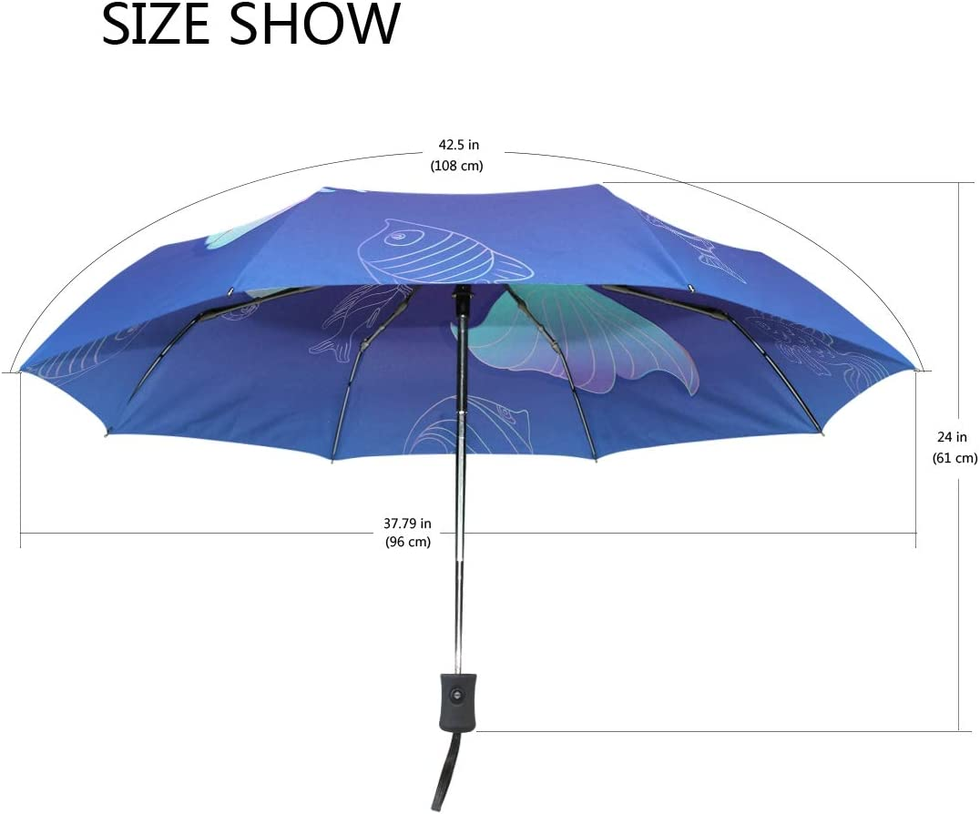 Unbreakable Cute Mermaid Crab Fish Octopus Compact Travel Umbrella Windproof Auto Open and Close for Men and Women