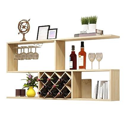 Amazon.com: MKKM Wine Racks Wine Shelf Wall-Mounted Wood Assembly ...