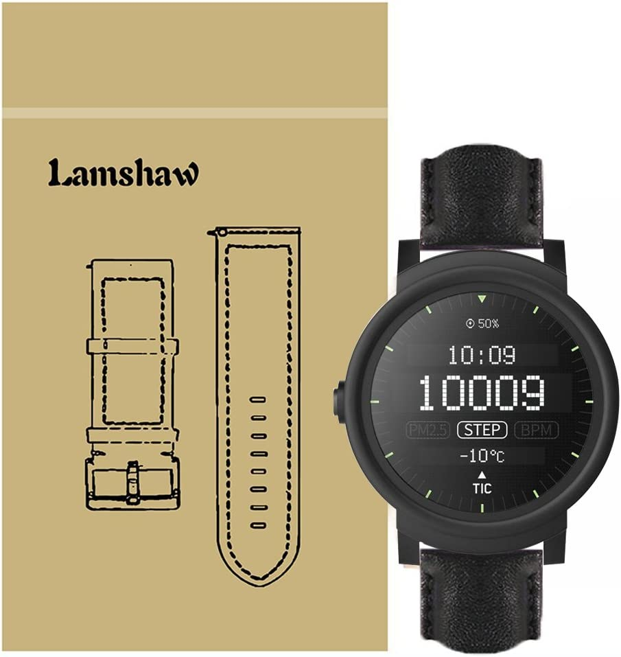 Lamshaw Leather Strap Replacement Band for Ticwatch E Smartwatch Strap (Lether-Black)