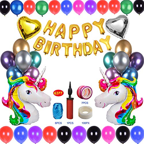 130 Pieces Birthday Party Decoration Supplies Set:Happy Birthday Banner,2 Unicorn Balloons(40),2 Heart Balloons,100 Latex Balloons&1 Balloon Pump,100 Counts Balloon Tape,13 Color Satin Ribbon