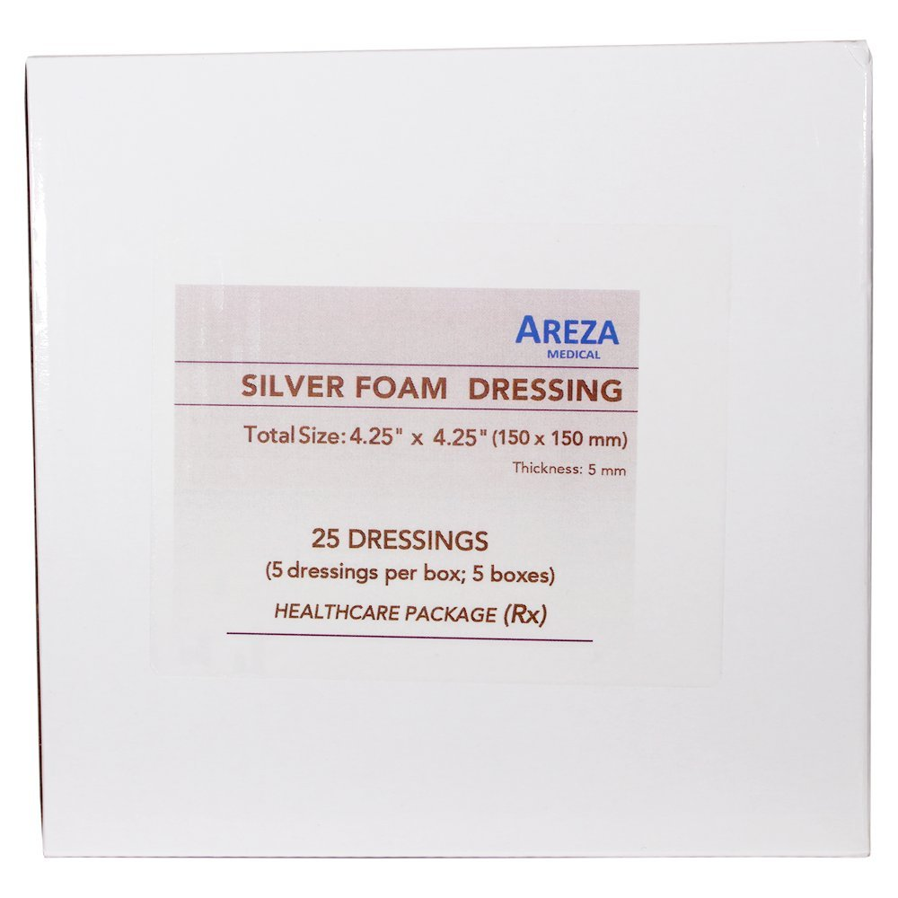 Silver Foam Dressing Sterile 4''x4'' Waterproof 25 Dressings (Healthcare Provider Package) by Areza Medical