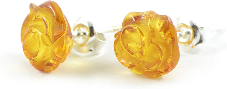 alemán Báltico ámbar pendientes, hecha a mano natural perlas de ámbar Bálticos