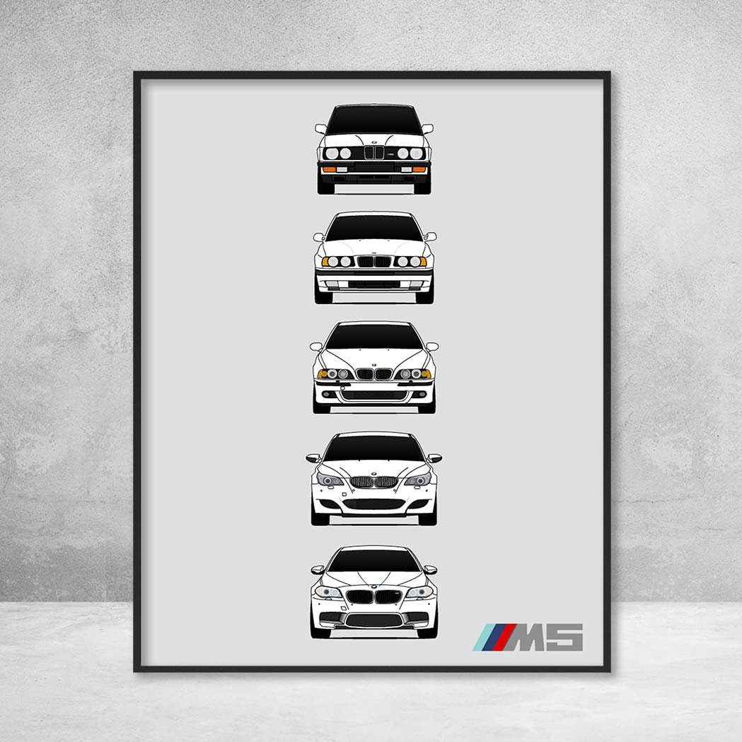 BMW M5 Poster Print Wall Art of the History and Evolution of the M5 Generations (BMW Car Models: E28, E34, E39, E60, F10)