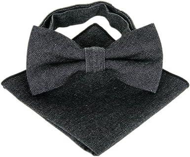 Hello Tie Mens Denim Bow Tie and Handkerchief Set Multicolor