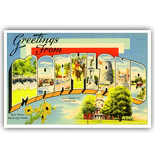 GREETINGS FROM MARYLAND vintage reprint postcard set of 20 identical postcards. Large letter US state name post card pack (ca. 1930's-1940's). Made in USA.