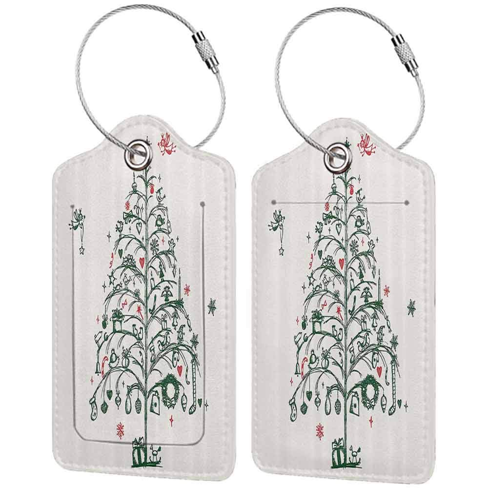 Flexible luggage tag Christmas Decorations Fairies With Wands And Chirstmas Tree Hand Drawn Style With Wreath And Stockings Fashion match Red Green W2.7 x L4.6