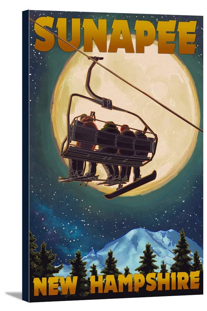 Sunapee、New Hampshire – Ski Lift and Full Moon 12 x 18 Gallery Canvas LANT-3P-SC-48311-12x18 B018P5394U  12 x 18 Gallery Canvas