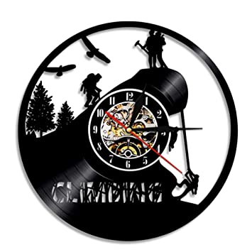 "Lyy 12 "" Alpinismo Montaña Silueta Vinilo Reloj Decoración Art Remoto Controlar Grabar Vendimia Hecho"
