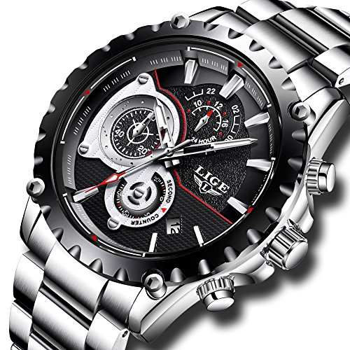 Mens Watches Full Steel Waterproof Sport Analog Quartz Watch Men LIGE Brand Business Black Wristwatch