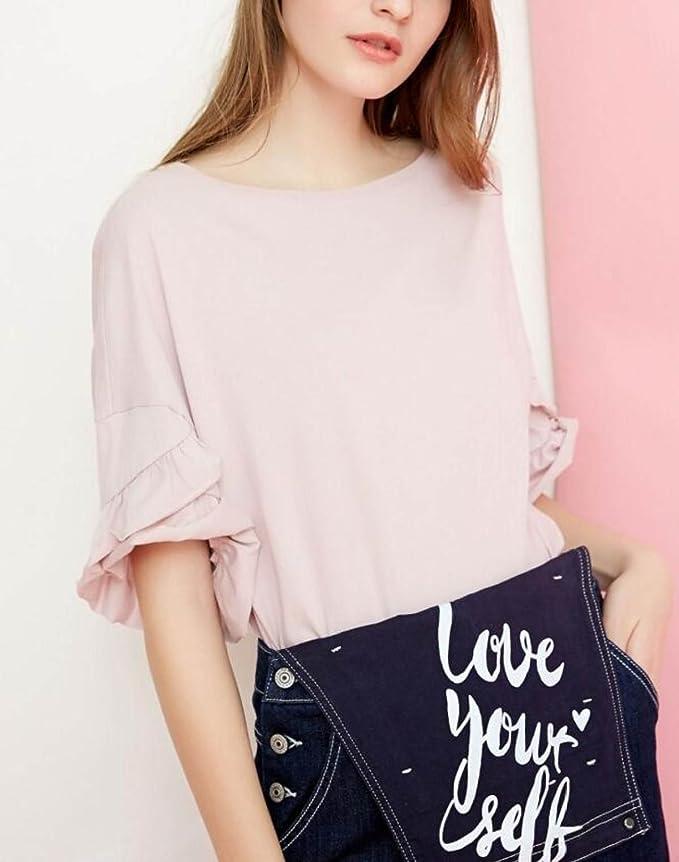 daf8de3af Koyi Camiseta De Color Sólido Para Mujer Top De Encaje Espiral Puños De Algodón  Suelta Cómoda Estilo Para Niña Blusa