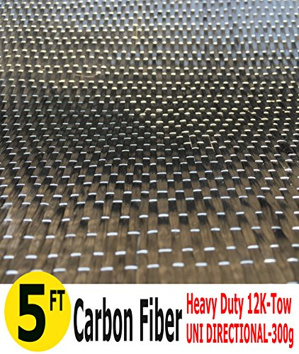 5-Ft CARBON FIBER FABRIC-UNI DIRECTIONAL-12K/300g (1 Meter Wide)
