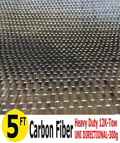 - 5-Ft CARBON FIBER FABRIC-UNI DIRECTIONAL-12K/300g (1 Meter Wide)