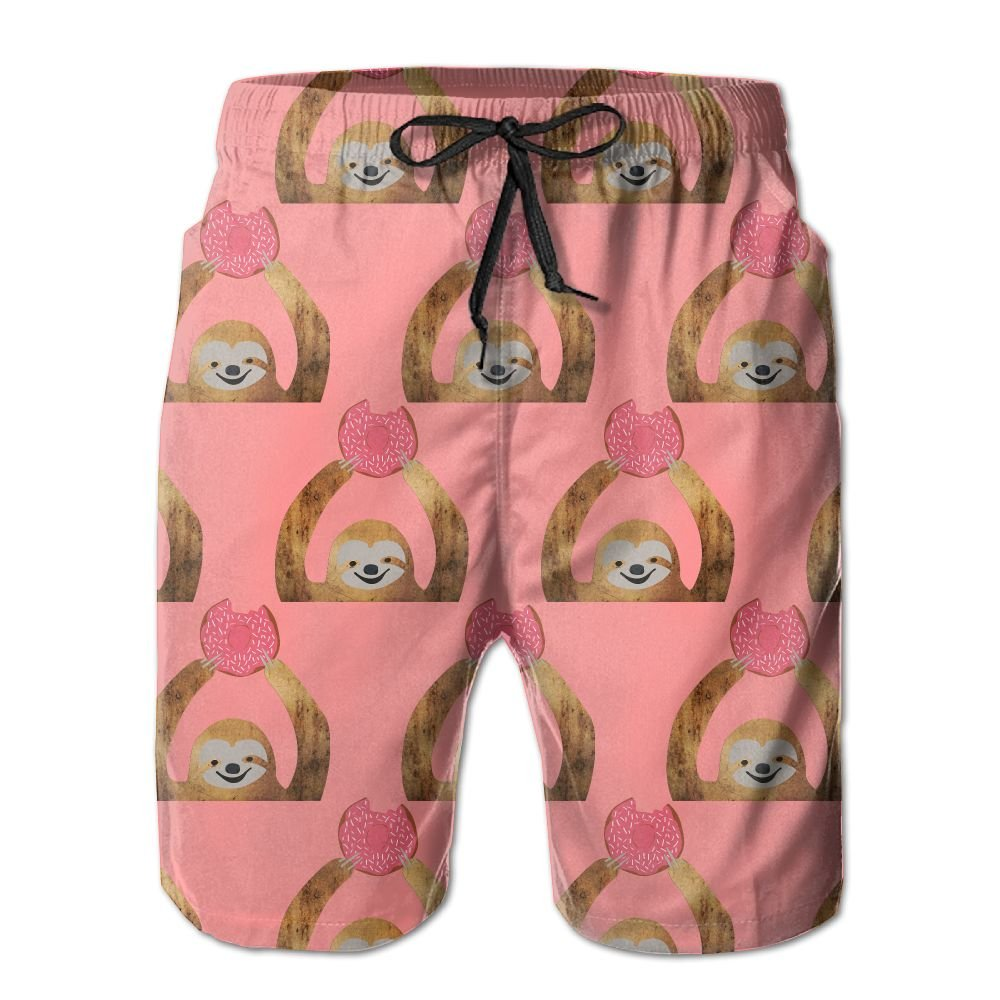 Donut Sloth Cute Sloth Mens Basic Swim Trunk L With Pocket by OIYP