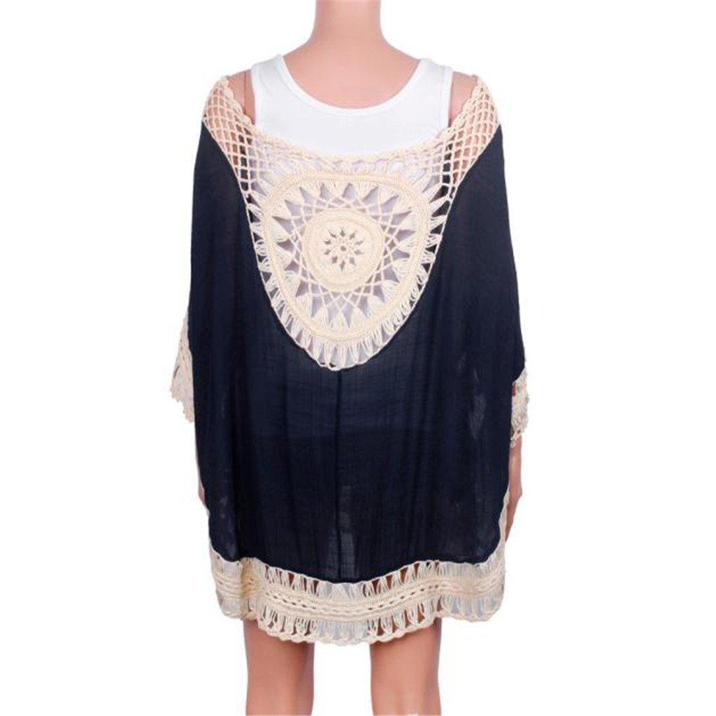 Susenstone 2016 las mujeres hueco Bikini de Crochet Manual puro Cover Up playa traje de baño sin respaldo protector solar Tops Bikini blusa de encaje ...