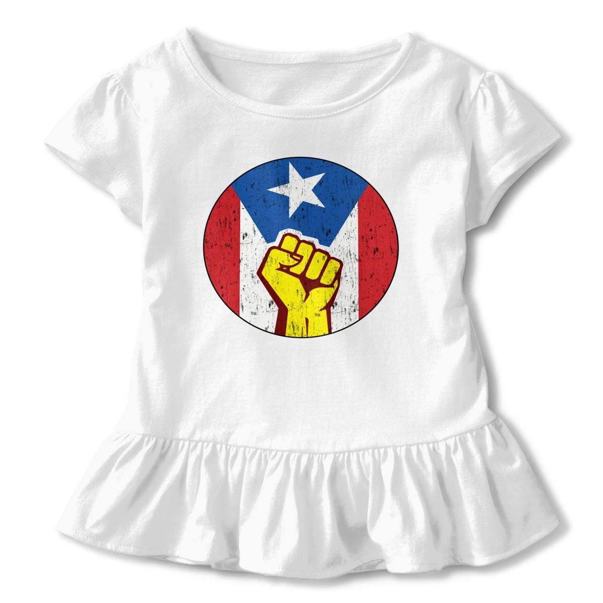 Retro Puerto Rico Flag Pin Unidos Donation for Hurricane Maria Relief Toddler Baby Girls Short Sleeve Ruffle T-Shirt