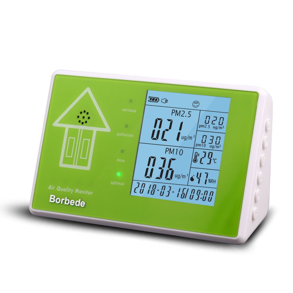 Indoor Air Quality Monitor Testing for PM2.5 PM10 Formaldehyde TVOC, with Date Time Temperature Humidity,Multifunctional Air Pollution Detector(without rechargeable battery) by Borbede