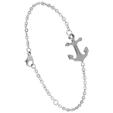 Bracelet pour femme avec ancre marin en acier inoxydable de couleur argent