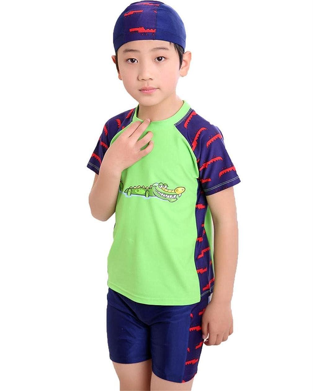 Monvecle Little Boys' 3-Pieces Rash Guard Swimsuits UPF 50+ Sun Protection Swim Set
