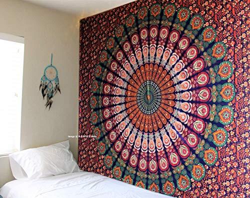 raajsee Mandala Round Tapestry (Blue Orange Mandala, Queen 210 X 220 CMS)