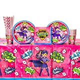 Cedar Crate Market Bundle: Superhero Girl Birthday Party Supplies Pack for 16 Guests: Straws, Dinner Plates, Luncheon Napkins, Table Cover, and Cups