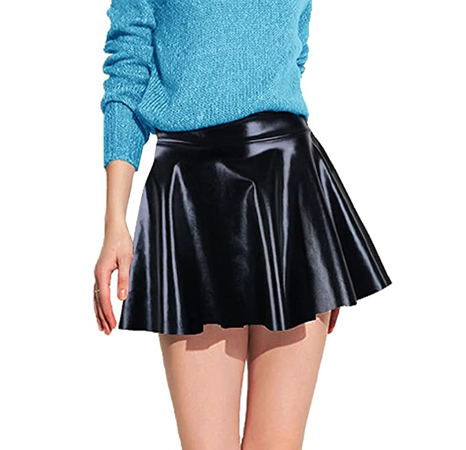 4ca68bb8ee990 Women's Metallic Flared Pleated Shiny Liquid Wet Look Skater Skirt, Black  One Size