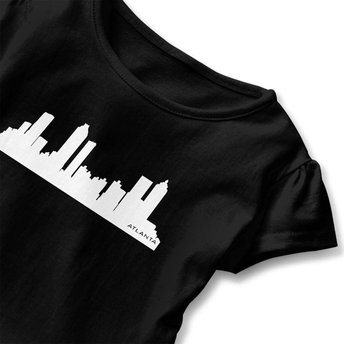 Atlanta Skyline Silhouette T Shirts Toddler//Infant Girls Short Sleeve Ruffles Shirt T-Shirt for 2-6T