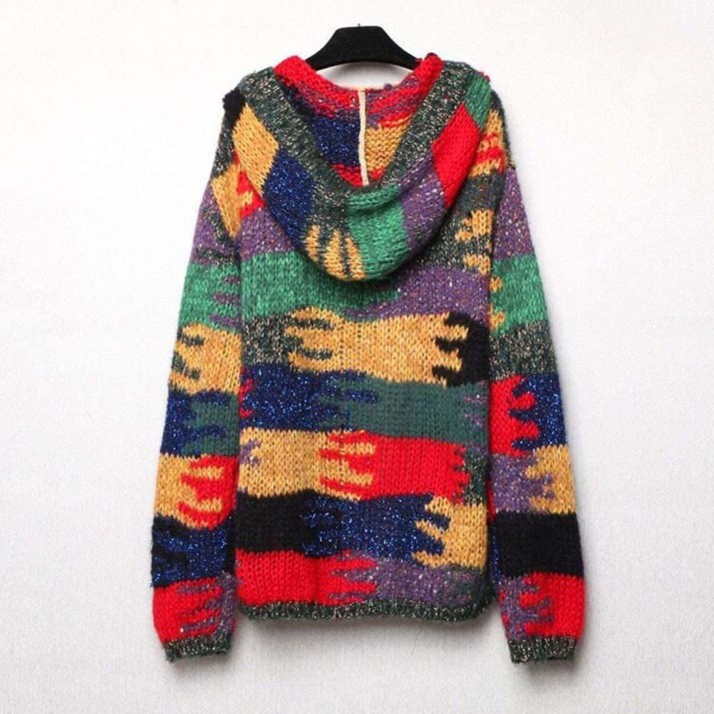 Autumn and Winter Color Matching Jacquard Mohair Lazy Wind Hooded Wool Coat QINJLI Womens Knit Cardigan