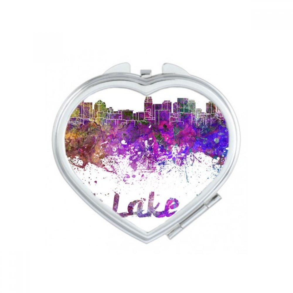 Salt Lake City America Country City Watercolor Illustration Heart Compact Makeup Pocket Mirror Portable Cute Small Hand Mirrors Gift