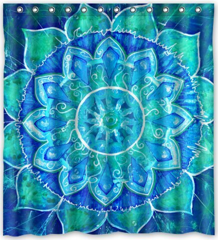 Fashion Custom Mandala Trippy Psychedelic Abstract Painting Waterproof Fabric Bath Shower Curtain 66quot