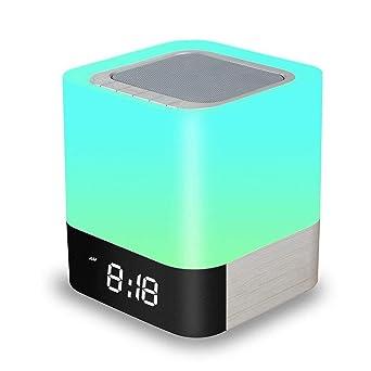 Beste Sd Karte.Amouhom Nachttisch Touchlampe 5 In 1 Led Schreibtischlampe Mit Bluetooth Lautsprecher 12 24h Digital Wecker 48 Farben 4000mah Batterie Unterstützt Sd