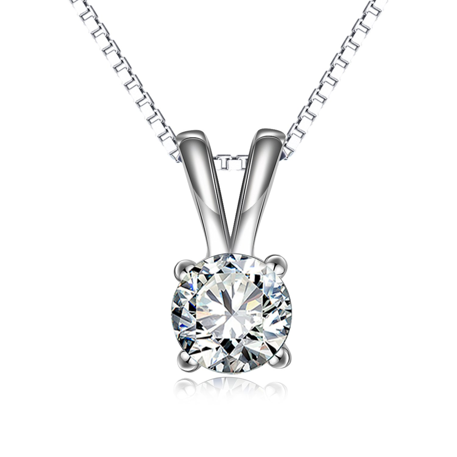 LONAGO 2.0 Carats 925 Sterling Silver Clear Round Cut Cubic Zirconia CZ Pendant Necklace 18''