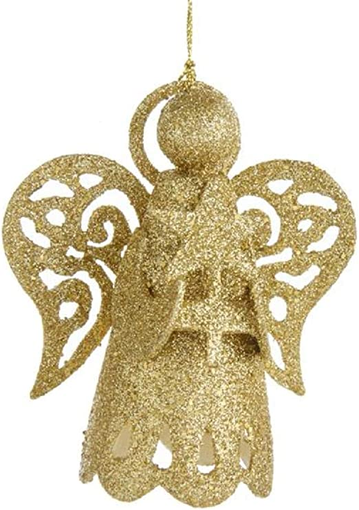 $10=Free Shipping Shiny Sparkling Gold Glitter Angel Cutout Christmas Ornaments