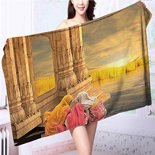 also easy 100% Cotton Bathroom Towels India Women in a Temple Holy Heritage Earth Yellow Pink Fluffy, and Absorbent, Premium Quality L55.1 x W27.5 INCH by also easy