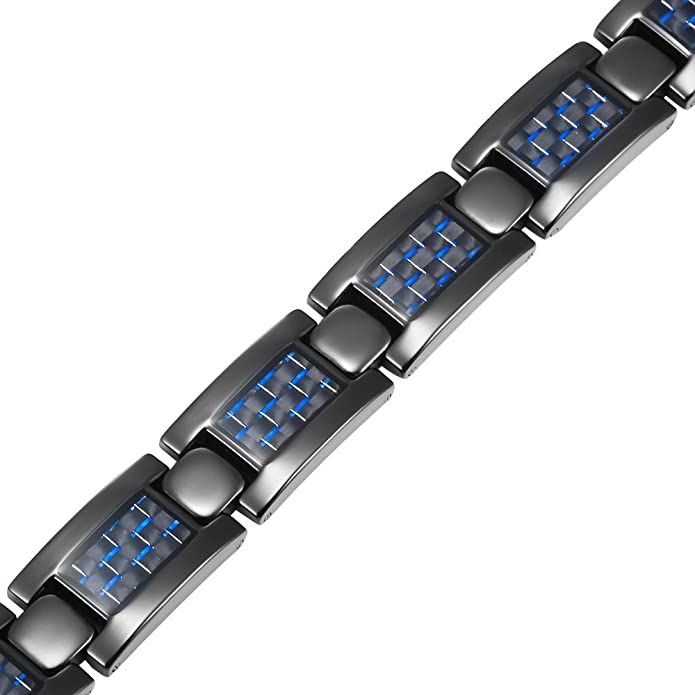 Willis Judd TB0035 - Pulsera magnética de titanio para hombre con fibra de carbono: Willis Judd: Amazon.es: Joyería