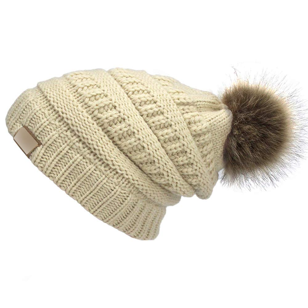 MJ-Young Woman Winter Hat Beanie Faux Fur Pom Pom Ball for Hats Knitted Cap Skully Warm Ski Hat