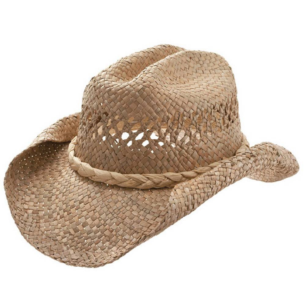 MG Women's Straw Woven Cowboy Hat (Natural)