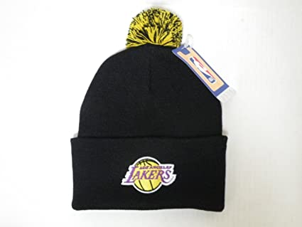 58fac4e103190 Image Unavailable. Image not available for. Color  Adidas NBA LA Lakers Logo  Team Color Black Cuffed Retro Knit Beanie Cap ...